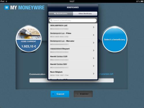 Keytrade Bank's iPad app and KeyKash Android app